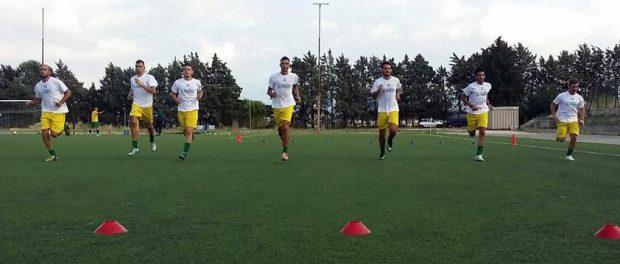 I giocatori gialloverdi al lavoro