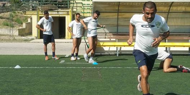 Filicetti durante una fase della preparazione palazzolo calcio siracusa times