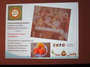 Slide iniziale del Simpòsio - IL CIBO NELL' ARTE siracusa times